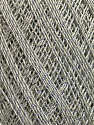 Ne: 10/3 Nm: 17/3 Fiber Content 96% Mercerised Cotton, 4% Metallic Lurex, Silver, Light Grey, Brand ICE, Yarn Thickness 1 SuperFine  Sock, Fingering, Baby, fnt2-54880