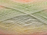 Note that this is a self-stripping yarn. Please see package photos for the color change. Machine washable and dryable. Fiber Content 100% Acrylic, Yellow, White, Salmon, Brand ICE, Grey, Green, Yarn Thickness 3 Light  DK, Light, Worsted, fnt2-58195