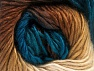 This is a self-striping yarn. Please see package photo for the color combination. Fiber Content 100% Premium Acrylic, Teal, Brand ICE, Cream, Brown Shades, fnt2-63035