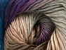 This is a self-striping yarn. Please see package photo for the color combination. Fiber Content 100% Premium Acrylic, Purple, Navy, Brand ICE, Grey, Brown, fnt2-63036