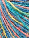 Fiber Content 50% Acrylic, 50% Wool, Turquoise Shades, Light Green Salmon, Brand Ice Yarns, fnt2-65755
