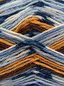 Fiber Content 75% Superwash Wool, 25% Polyamide, White, Brand Ice Yarns, Gold, Brown, Blue Shades, fnt2-69175