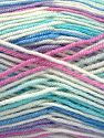 Fiber Content 75% Acrylic, 25% Wool, White, Turquoise, Pink, Lilac, Brand Ice Yarns, Blue, fnt2-70815