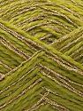 Contenido de fibra 50% Metálicos Lurex, 40% Acrílico, 10% Poliamida, Light Green, Brand Ice Yarns, Gold, fnt2-71290