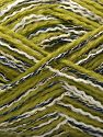 Contenido de fibra 50% Acrílico, 5% Metálicos Lurex, 20% Viscosa, 15% Poliéster, 10% Poliamida, White, Navy, Light Green, Brand Ice Yarns, Gold, fnt2-71291