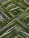 Contenido de fibra 50% Acrílico, 5% Metálicos Lurex, 20% Viscosa, 15% Poliéster, 10% Poliamida, White, Navy, Jungle Green, Brand Ice Yarns, Gold, fnt2-71292