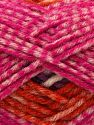 Fiber Content 50% Acrylic, 40% Wool, 10% Viscose, White, Orange, Lilac, Brand Ice Yarns, Fuchsia, fnt2-71513