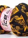 Fiber Content 100% Acrylic, Brand Ice Yarns, Dark Yellow, Black, Yarn Thickness 6 SuperBulky Bulky, Roving, fnt2-25157
