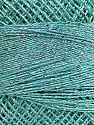 Fiber Content 70% Polyester, 30% Metallic Lurex, Silver, Mint Green, Brand ICE, Yarn Thickness 0 Lace  Fingering Crochet Thread, fnt2-40705