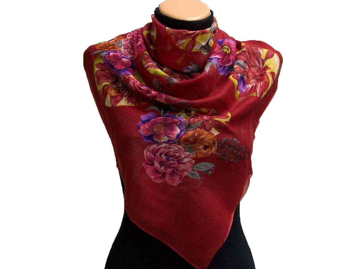 Pink lilac burgundy floral design scarf 2 at yarn paradise for 1083 3