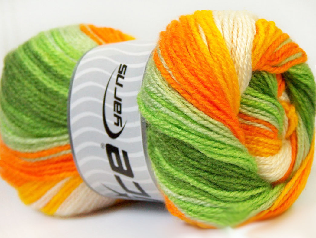 Dancing Baby Yellow White Orange Green at Ice Yarns Online Yarn Store