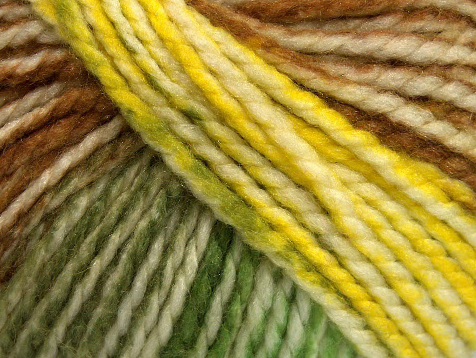 Fun Wool Bulky Yellow White Green Brown At Ice Yarns